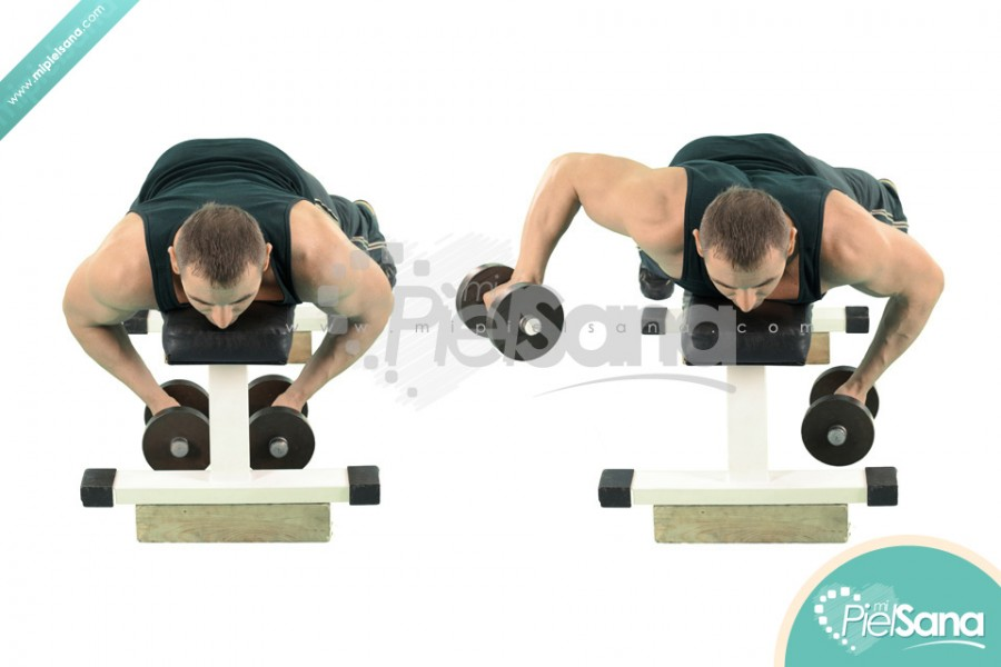 Alternate Lying Dumbbell Reverse Fly