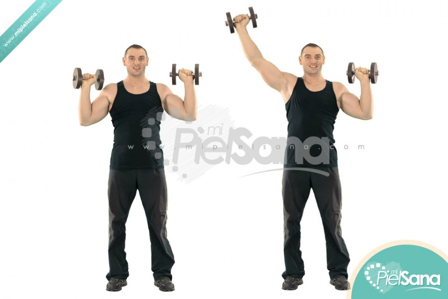 Alternate Standing Dumbbell Press