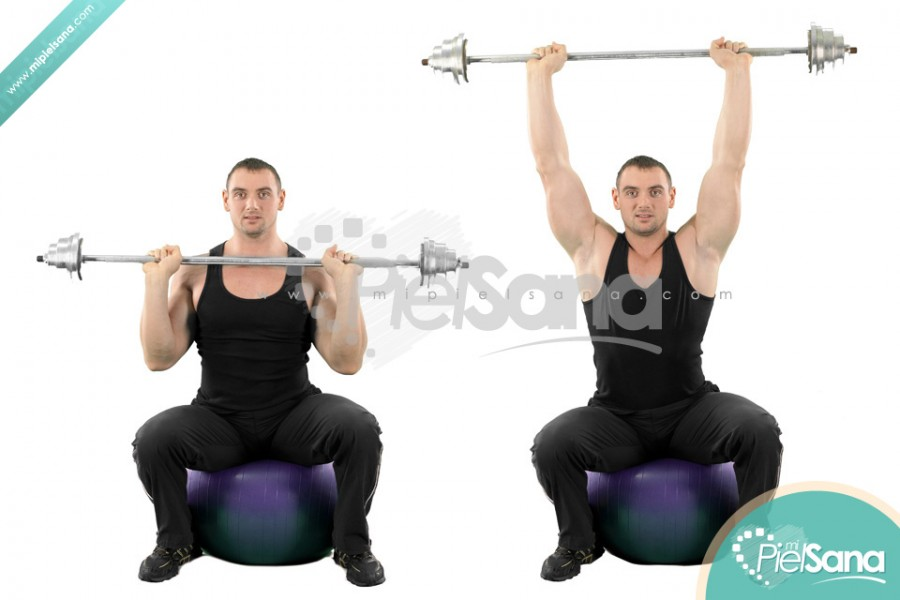 Exercise Ball Barbell Press