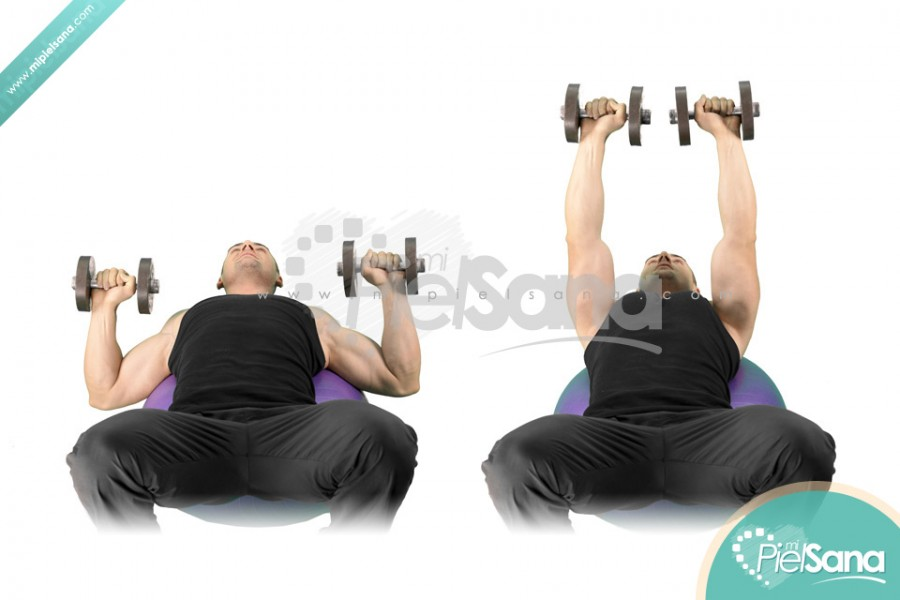 Exercise Ball Dumbbell Press