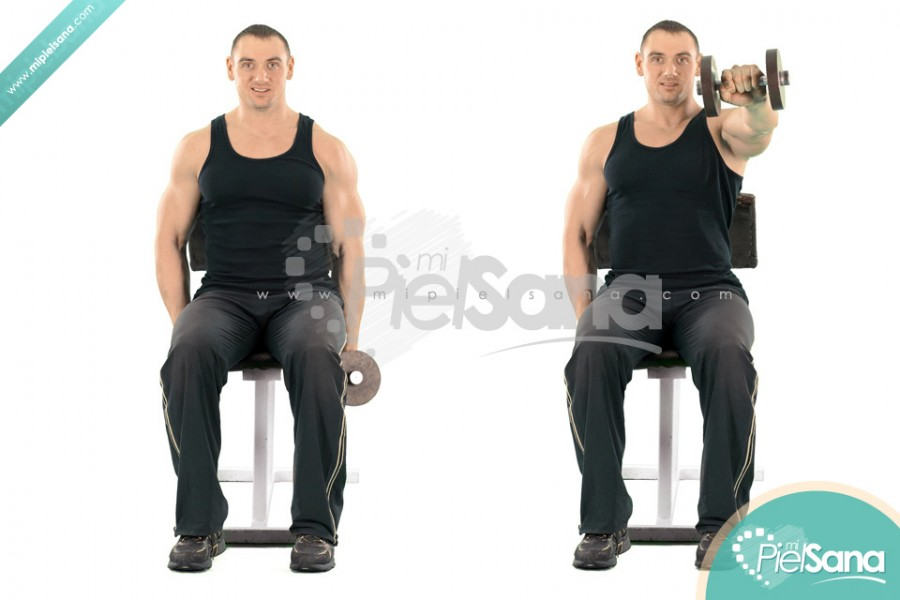 One Arm Seated Dumbbell Front Raise