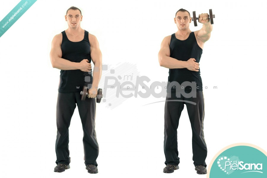 One Arm Standing Dumbbell Front Raise