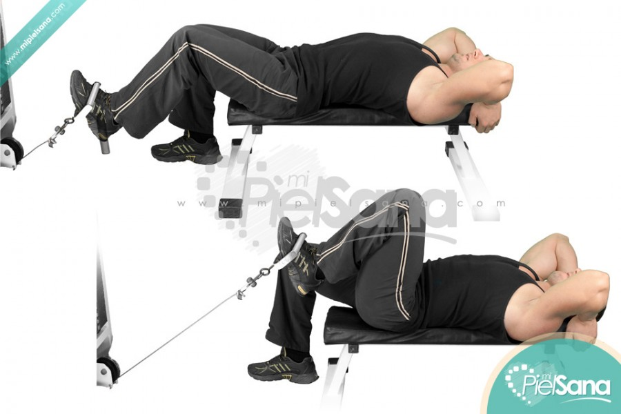 One Leg Lying Cable Knee Raise