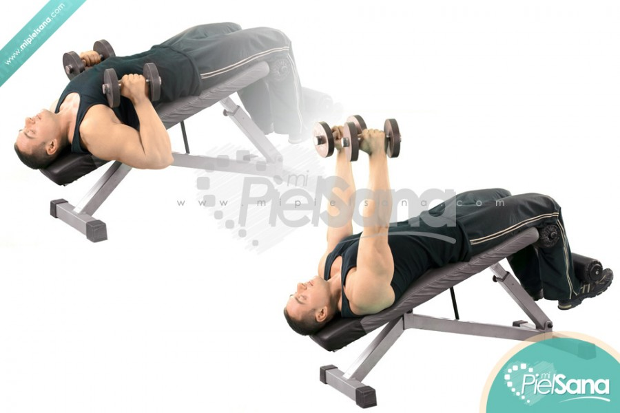 Palms In Decline Dumbbell Bench Press