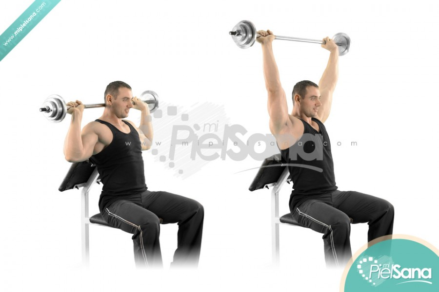 Seated Barbell Press Behind Neck
