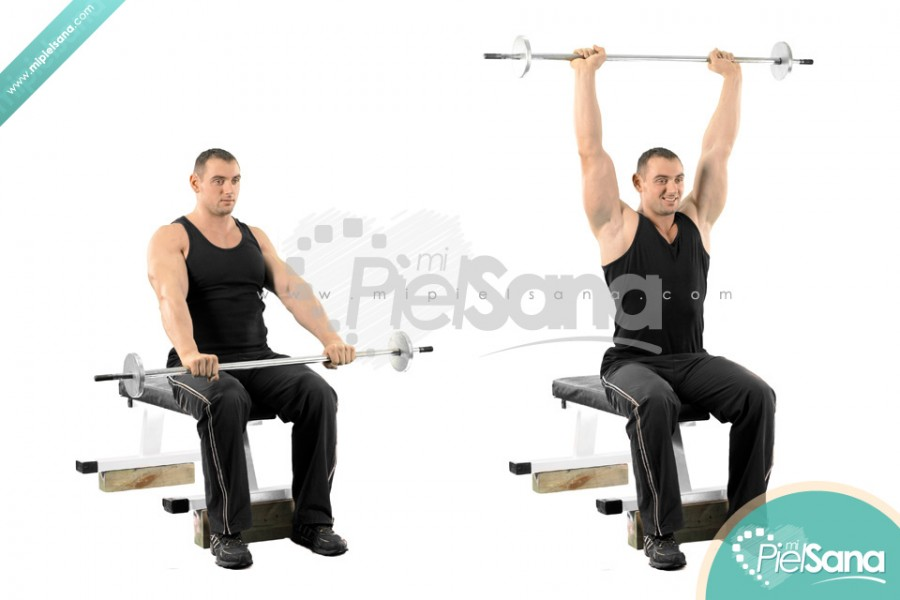 Seated High Barbell Front Raise