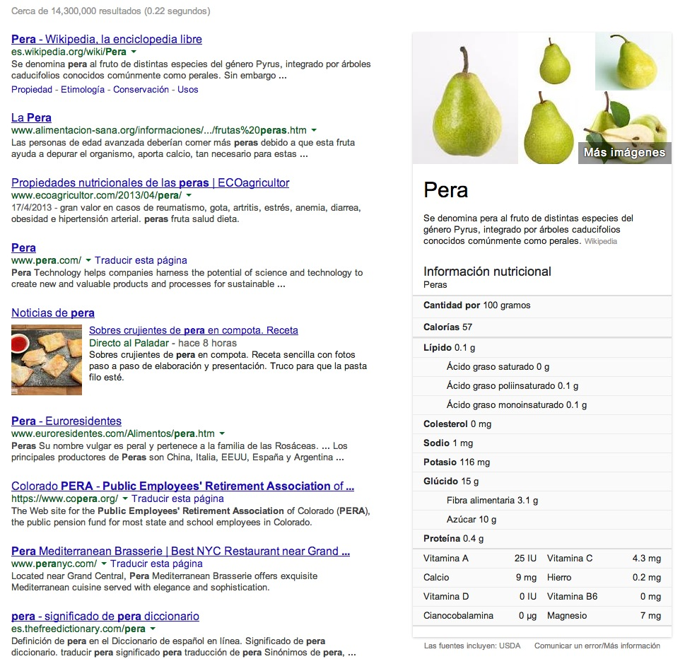 Google información nutrimental