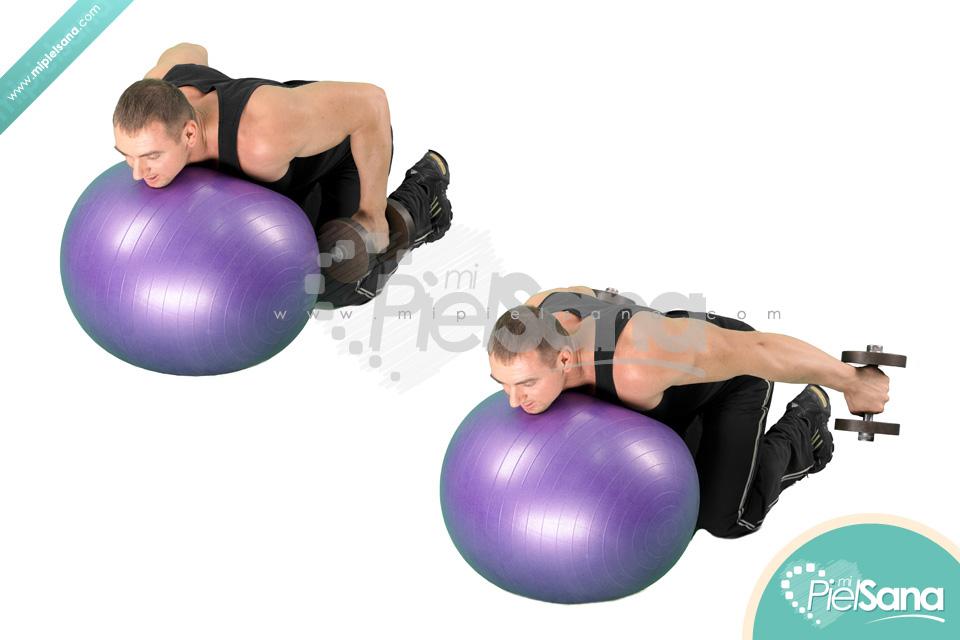 Exercise Ball Dumbbell Kickbacks