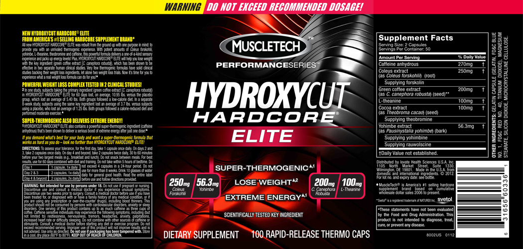 Hydroxycut Hardcore Elite label