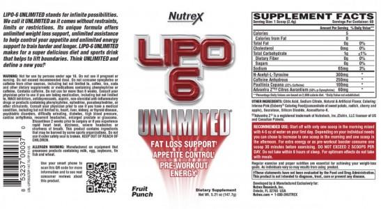 Lipo-6 Unlimited LABEL